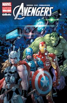 Gillette Avengers comics cover by Greg Land