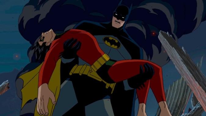 Batman holding Robin