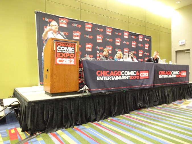From left to right, Mark Waid, Troy Peteri, Christina Blanch, James Tynion, and Jason Pierce