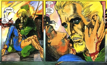 Green Arrow rescues Dinah in the Longbow Hunters