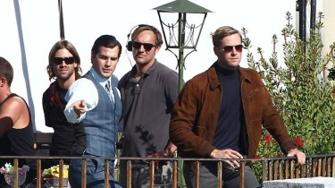Henry Cavill and Armie Hammer filming The Man From U.N.C.L.E.