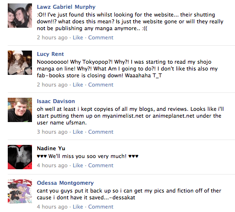 Tokyopop Facebook comments