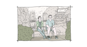 Blake Bashoff and Michael O'Keefe in Finding Neighbors (art version)