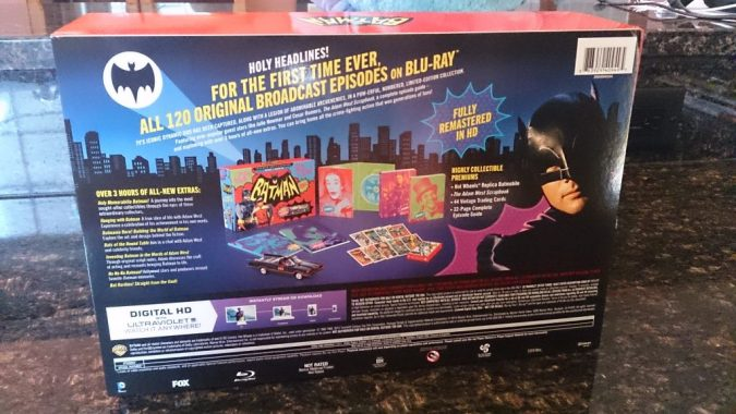 The back of the Batman: The Complete Series box comes covered with removable cardboard that details the set