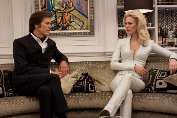 Kevin Bacon (Sebastian Shaw) and January Jones (Emma Frost)