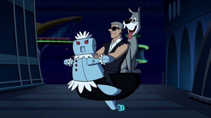 "Vince McMahon, Rosie the robot, and Astro, ""not the first talking dog he's met"", in The Jetsons & WWE: Robo-Wrestlemania"