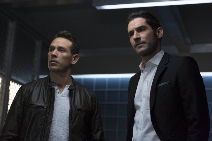 Kevin Alejandro and Tom Ellis in Lucifer Season 2
