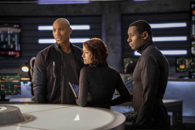 James Olson (Mehcad Brooks), Alex Danvers (Chyler Leigh), and J'onn J'onnz (David Harewood) in Supergirl