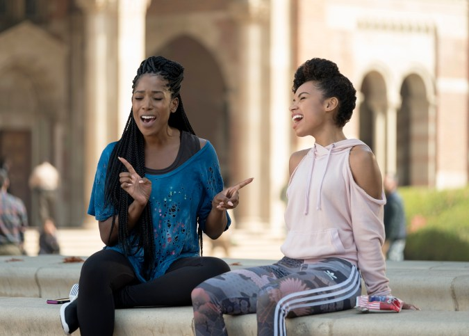 Joelle (Ashley Blaine Featherson) and Sam (Logan Browning) in Dear White People season 2