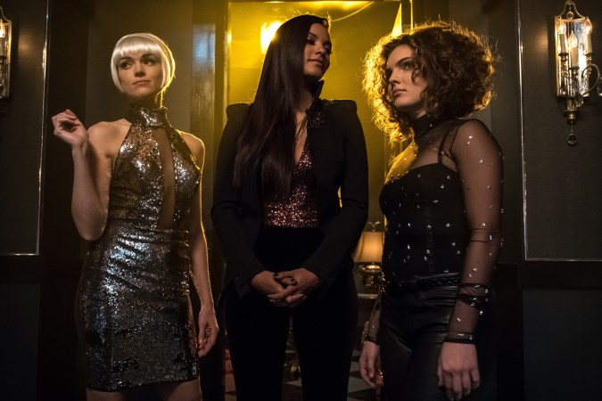 Erin Richards, Jessica Lucas, and Camren Bicondova in Gotham