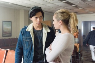 Cole Sprouse as Jughead Jones and Lili Reinhart as Betty Cooper in Riverdale