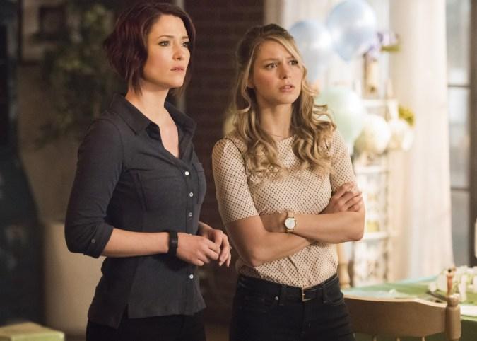 Chyler Leigh as Alex Danvers and Melissa Benoist as Kara/Supergirl