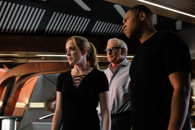 """Caity Lotz as Sara Lance/White Canary, Victor Garber as Professor Martin Stein, and Franz Drameh as Jefferson """"Jax"""" Jackson in DC's Legends of Tomorrow"""