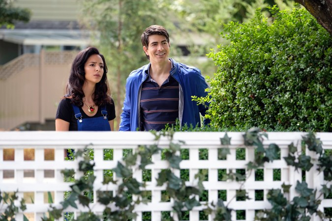 Tala Ashe as Zari and Brandon Routh as Ray Palmer/Atom in DC's Legends of Tomorrow