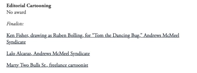 Pulitzer Prize 2021 Editorial Cartooning No Award