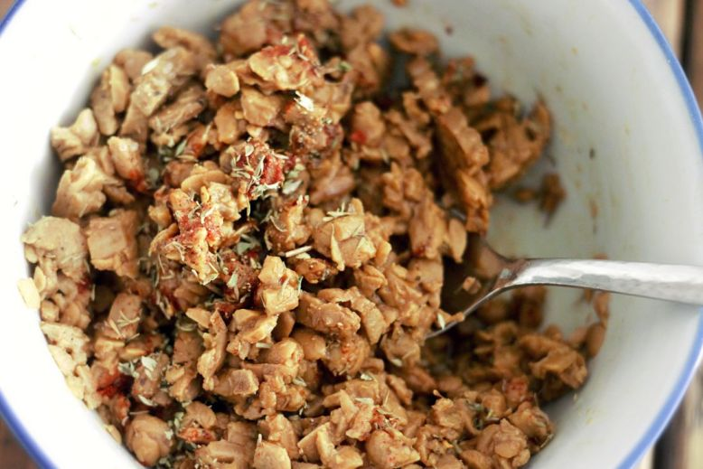 minced tempeh with spices and tamari