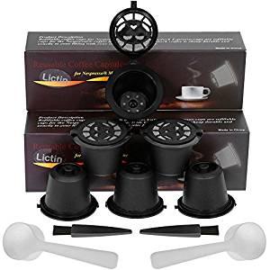 Lictin Pack de 6 Cápsulas Filtros de Café Recargable Reutilizable para Cafetera Nespresso