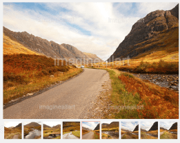 Beautiful road in Glencoe in Autumn, Scotland. To see more images click on this photo or the link below