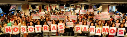 Las redacciones Clarín, Olé, La Razón y portales de AGEA en apoyo a la jornada de #NosotrasParamos