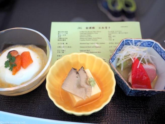 玉子豆腐・鮑 合鴨と茄子の煮浸し 豆乳とアーモンドのムース ゆずソース