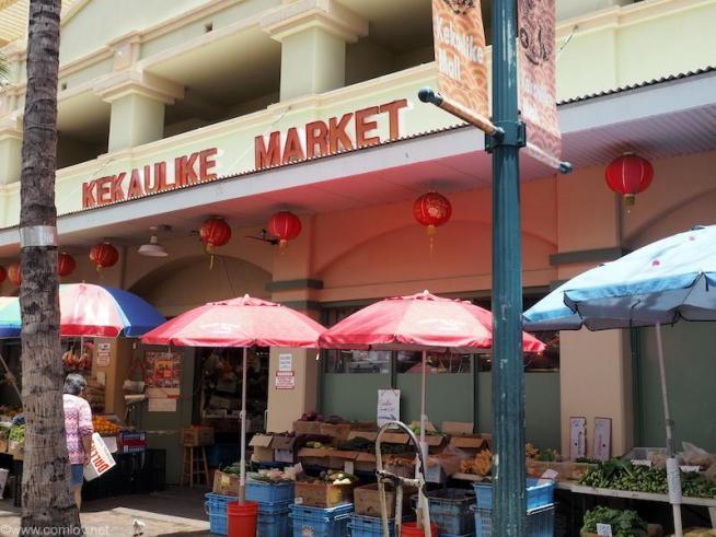 地元のマーケット。