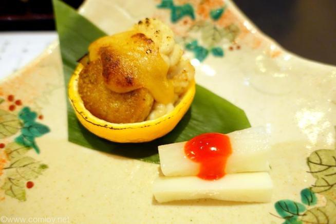 北海道ホテル 和食 六郎 焼き物 真たち鮟肝 茄子柚子釜田楽 長芋梅肉和え