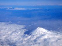 上空からの冬の富士山