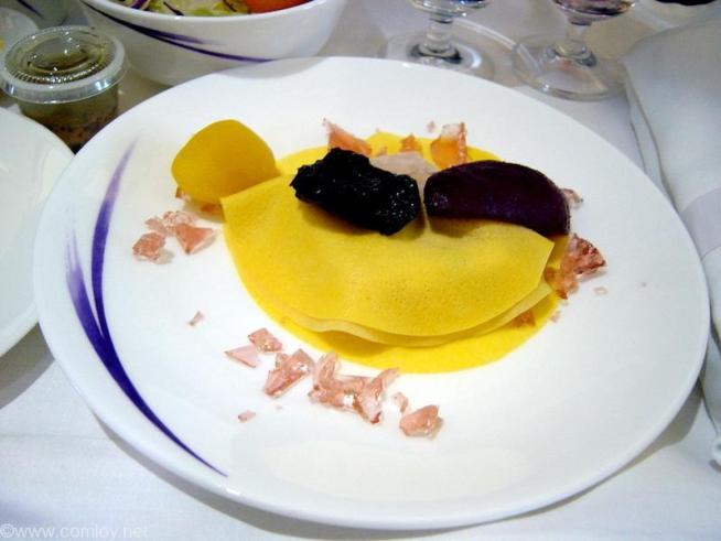 チャイナエアライン CI695 台北 - バンコクビジネスクラス機内食 Chestnut and duck liver pate