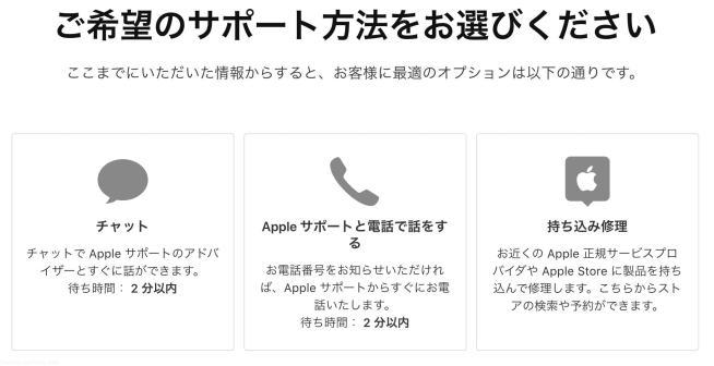 apple 電話・チャットサポート