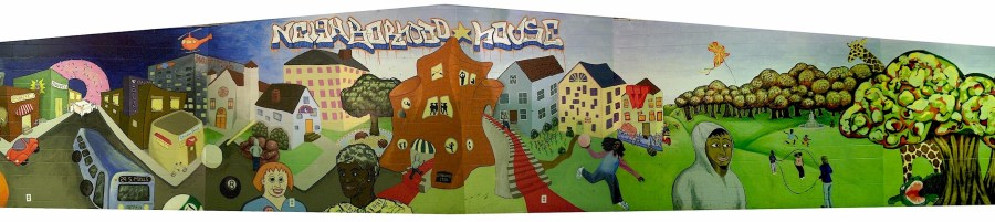 A panorama view of the Neighborhood House mural