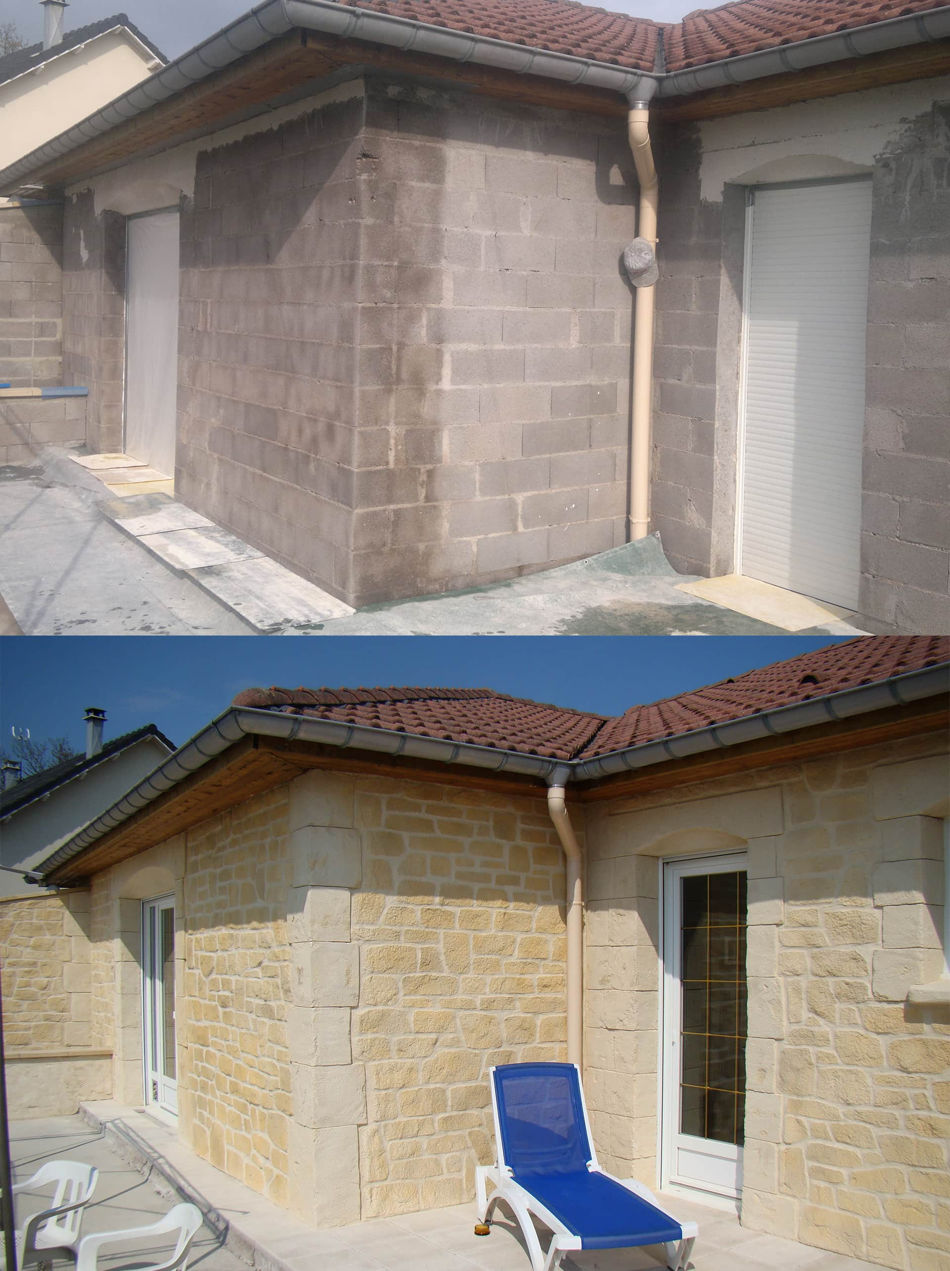 imitation pierre sur linteau vouté enduit sculpté