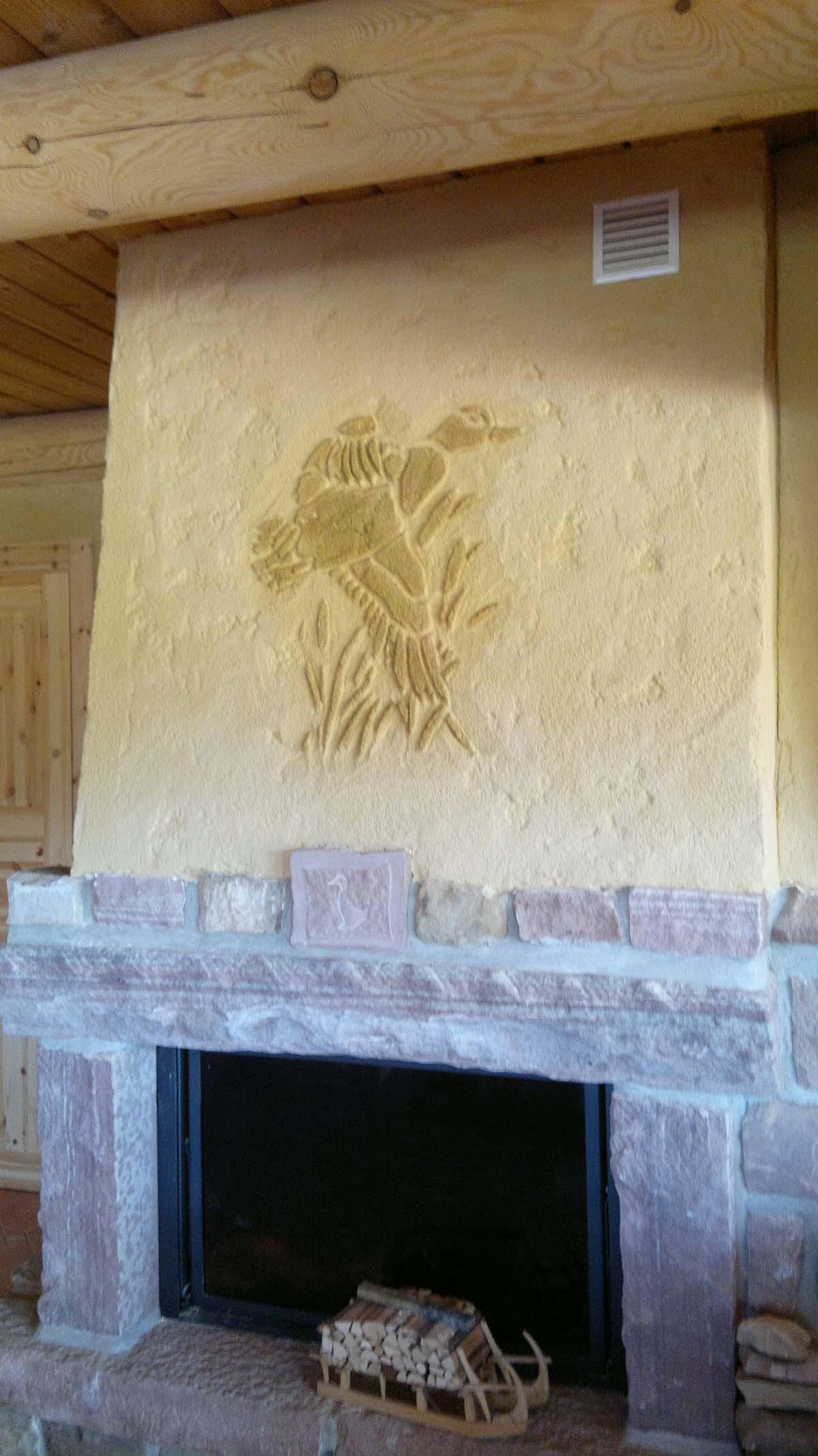 enduit a la chaux pour décorer une cheminé