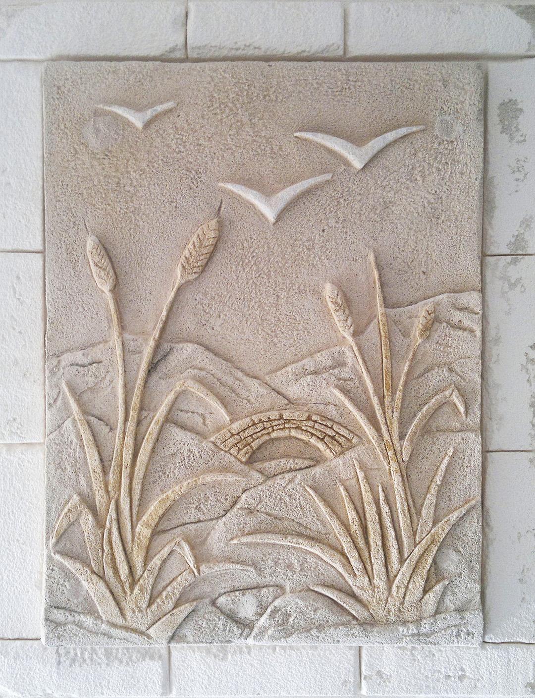 tableau en beton sculpté à la main avec épis de blé