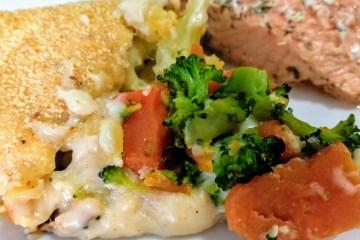 Coliflor, brócoli y zanahoria gratinados al horno con bechamel 6