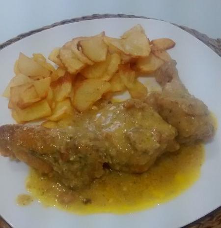 Pollo de corral en pepitoria 1