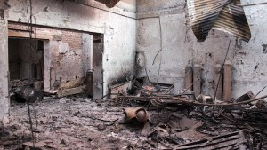"In this Friday, Oct. 16, 2015 photo, the charred remains of the Doctors Without Borders hospital is seen after being hit by a U.S. airstrike in Kunduz, Afghanistan. Christopher Stokes, general director of Doctors Without Borders, which is also known by its French abbreviation MSF, whose hospital in northern Afghanistan was destroyed in a U.S. airstrike, says the ""extensive, quite precise destruction"" of the bombing raid casts doubt on American military assertions that it was a mistake. (Najim Rahim via AP)"
