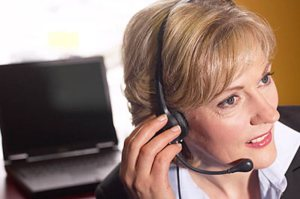 business woman making calls