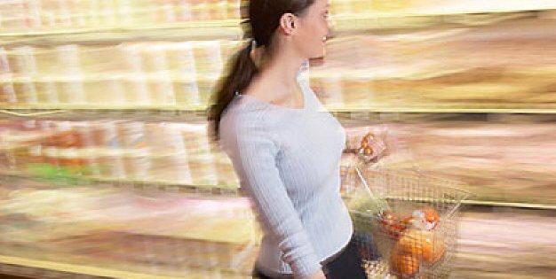 woman walking in shop