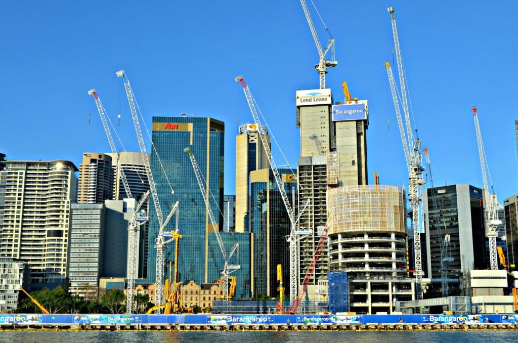 construction cranes in city