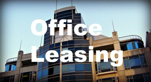 office building with leasing words