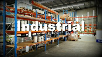 storage shelves inside an industrial building