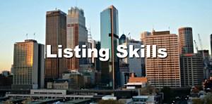 city view, listing skills.
