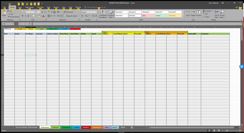 spreadsheet for prospecting