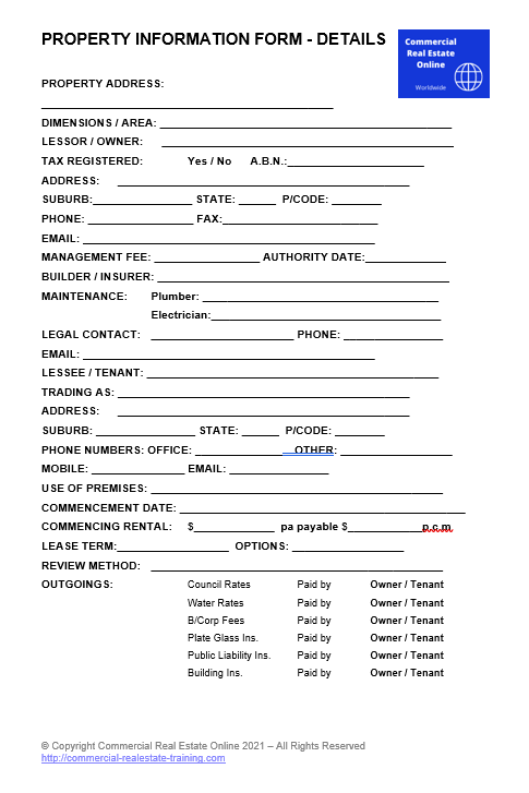 commercial real estate information form by John Highman