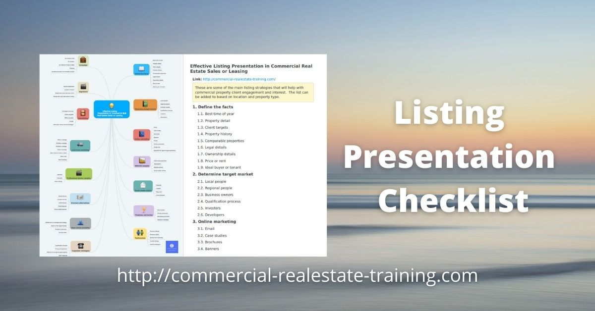 listing presentation checklist for commercial agents