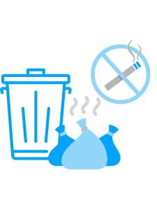 image of Trash bags, cigarettes, and trash cans to represent germrip odor removal services in okc