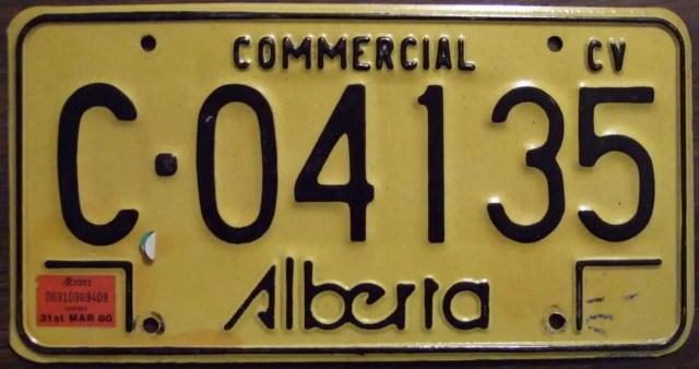Alberta Commercial Plate - Class 4 License Alberta