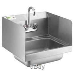 stainless steel wall mount hand wash sink commercial with faucet side splash new