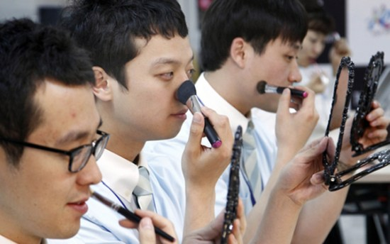 korean men trying makeup