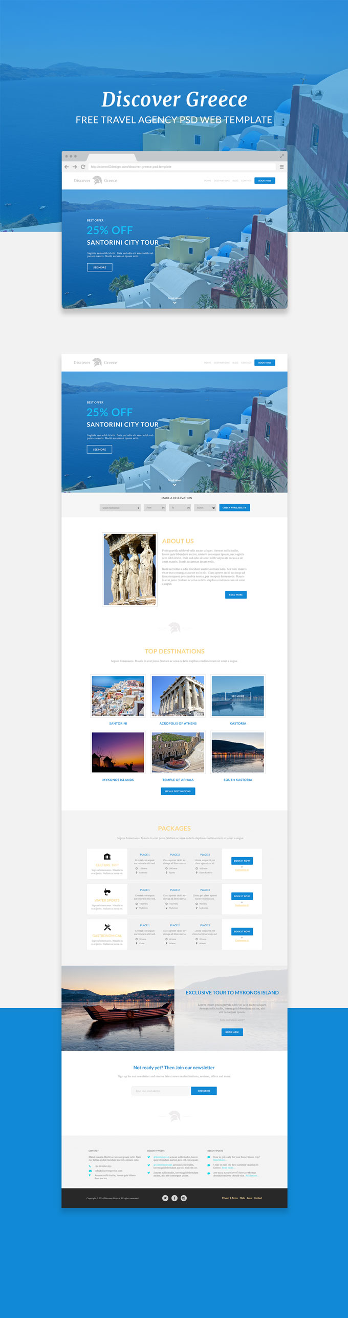 Discover greece web template preview